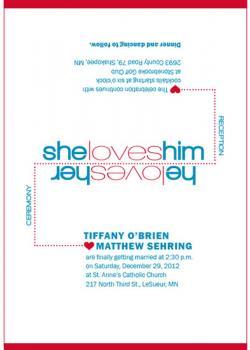 She Loves Him/He Loves Her Wedding Invitations