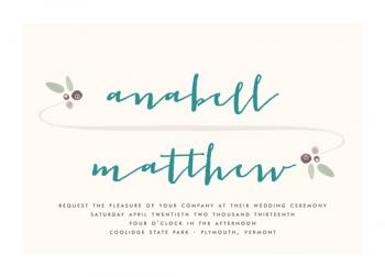 Floral Swoosh  Wedding Invitations