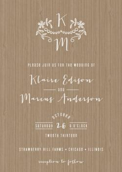 Woodland Initials Wedding Invitations