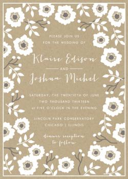 Kraft Florals Wedding Invitations