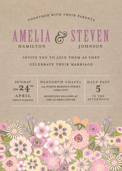wedding invitations - Burlap Bouquet by Laura Bolter Design