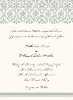 Damask Black Tie Wedding Invitation
