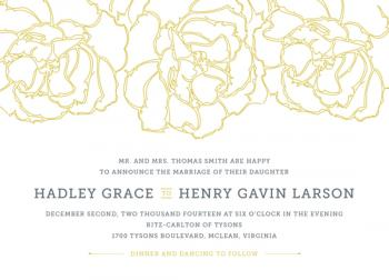 Floral Outline Wedding Invitations