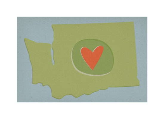 art prints - Washington State Love by Kelsey Clanton