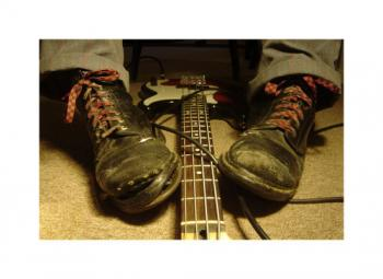 The tired shoes of a bass player...