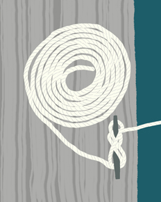 art prints - coiled rope and cleat by Jorey Hurley