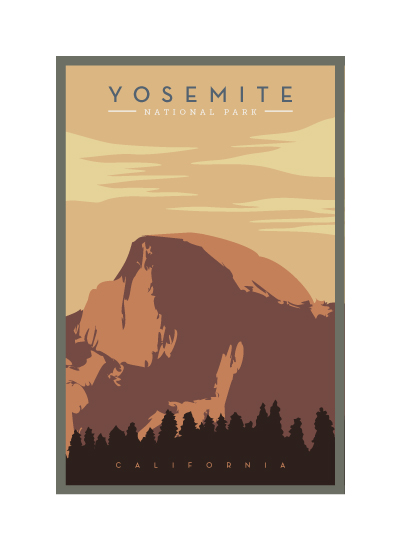 art prints - WPA Inspired HalfDome by Ling Wang