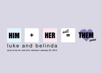 Him + Her Save the Date Cards