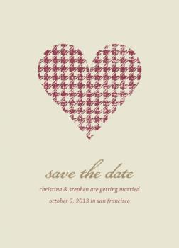 Houndstooth Heart Save the Date Cards