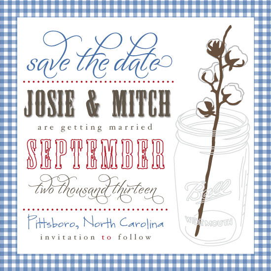 save the date cards - Country Cotton by Backwoods Design