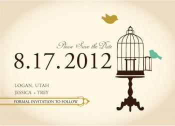 Sophisticated Love Birds Save the Date Cards
