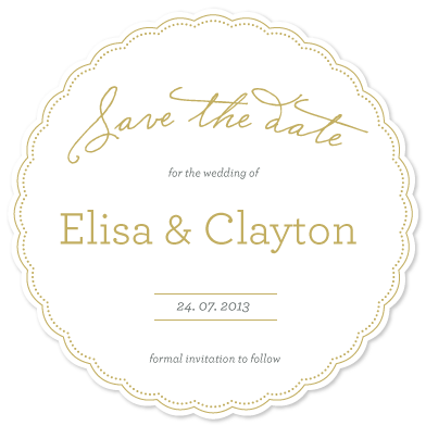 save the date cards - Golden love by Giselle Zimmerman