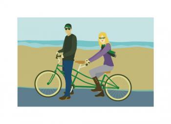 Tandem Bike By the Sea