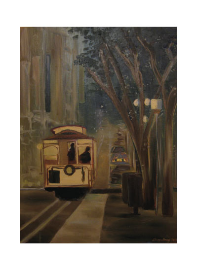 art prints - Midnight cable car ride in San Francisco by Dana Fong