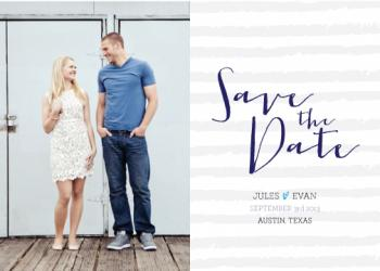 Hand Striped Save the Date Cards