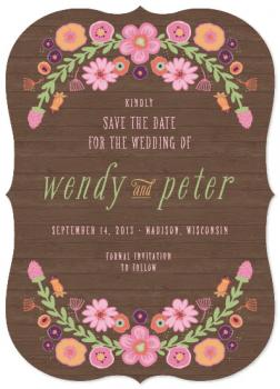 Woodland Wreath Arch Save the Date Cards