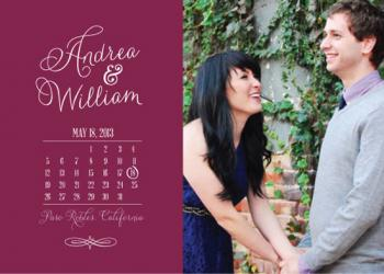 Photo + Calendar Calligraphic Save the Date  Save the Date Cards