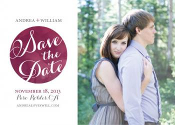 Watercolor logo photographic save the date Save the Date Cards