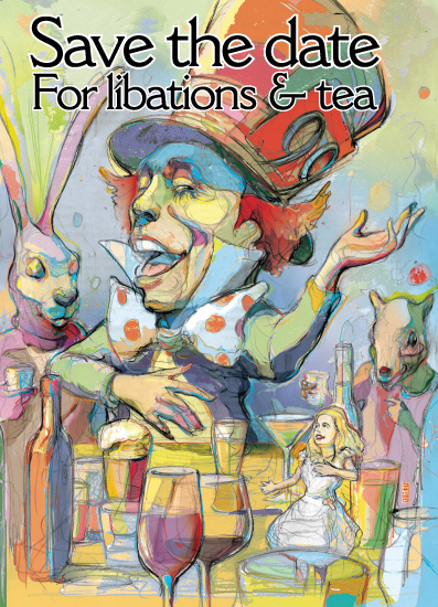 save the date cards - Mad Hatter's libation and tea party by Lance Jackson