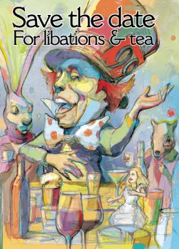 Mad Hatter's libation and tea party Save the Date Cards