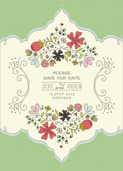 Chunky Vintage Botanical  Save the Date Cards