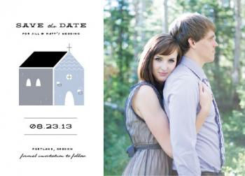 Retro chapel Save the Date Cards