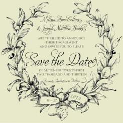 Laurel Wreath Save the Date Cards