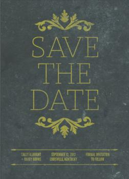 Vintage Greenery Save the Date Cards