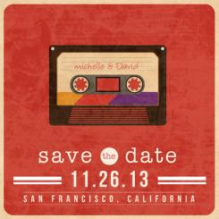 Mixed Tape Save the Date Cards