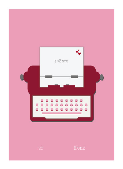valentine's cards - Just My Type by Backwoods Design