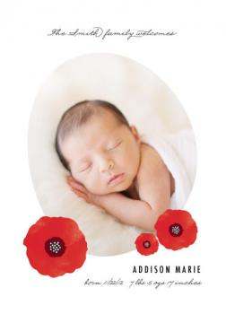 Floral Poppy Birth Announcements