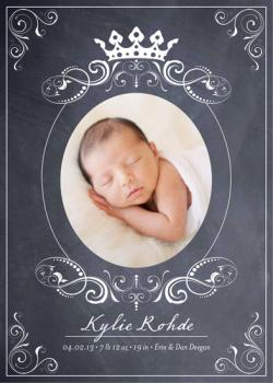 Royal Chalkboard Birth Announcement Birth Announcements