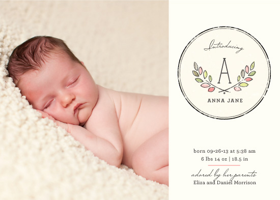 birth announcements - Baby Laurels by Kimberly Morgan
