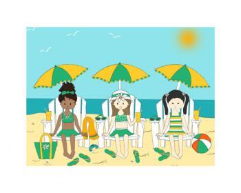 Lil Girlfriends at the Beach Art Prints