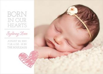 Born in Our Hearts Adoption Announcement Birth Announcements