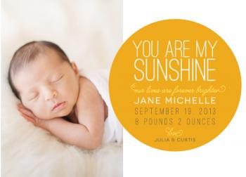 You Are My Sunshine Birth Announcements