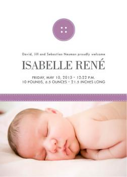 cute as a button Birth Announcements