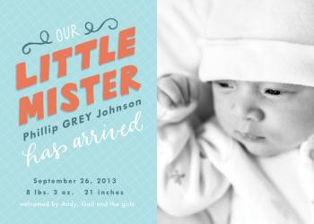 Hey Mister! Birth Announcements