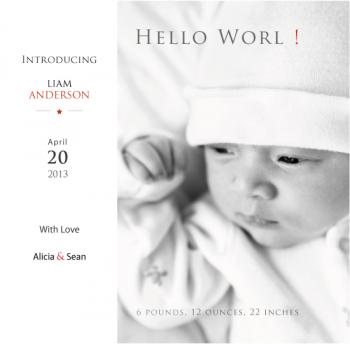 Orange note Birth Announcements