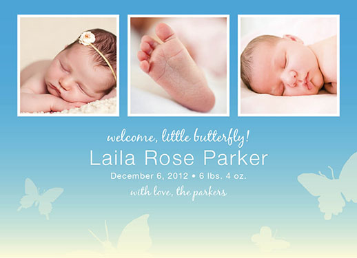 birth announcements - Little Butterfly Announcement by Anne Kostecki
