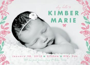 Sweet Bows & Roses Birth Announcements