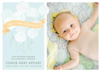 Balloons and Banner Birth Announcements