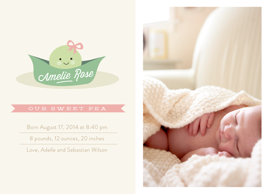 birth announcements - Sweet Pea by Chryssi Tsoupanarias