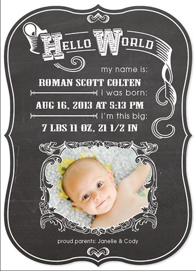 birth announcements - Blackboard Baby by Sara Batman