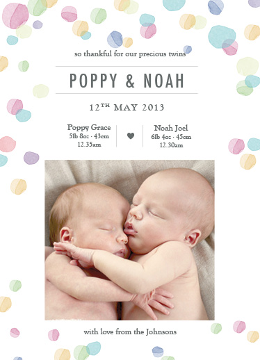 birth announcements - Twin Watercolour by Jordan Bariesheff