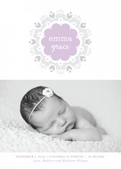 Modern Dahlia Birth Announcements