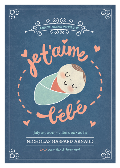 birth announcements - je t'aime bébé by Guess What Design Studio