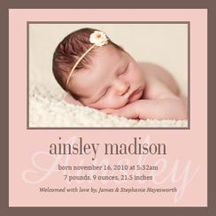 Modern Pink Birth Announcements
