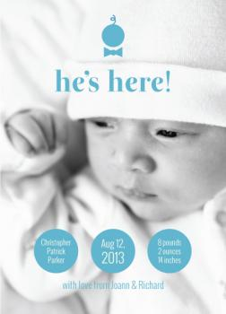 Modern Baby Boy Bowtie Birth Announcements