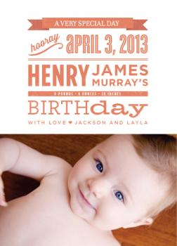 A Very Special Day Birth Announcements